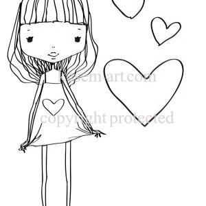 נערה עם לבבות